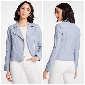 Ann Taylor Canvas Moto Jacket In Chambray NWOT